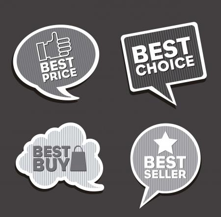 best seller: vintage labels over gray background. vector illustration