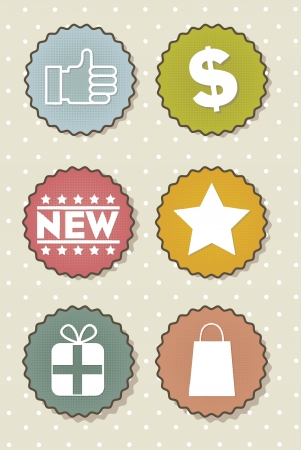 happyhour: vintage labels over beige background. vector illustration  Illustration