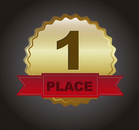 first place ribbon over black background. vector illustration Vector