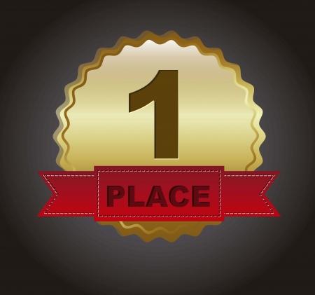 merit: first place ribbon over black background. vector illustration Illustration