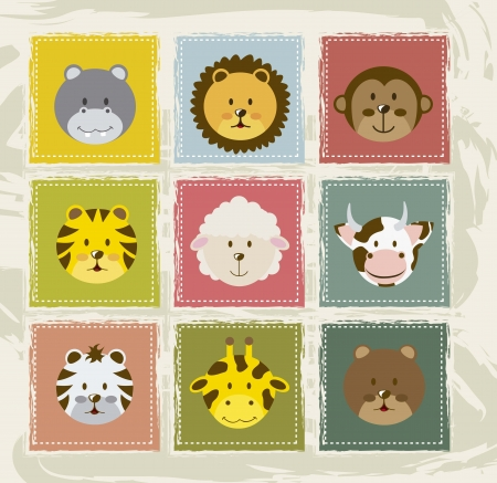 lion and lamb: animal icons over vintage background. vector illustration Illustration