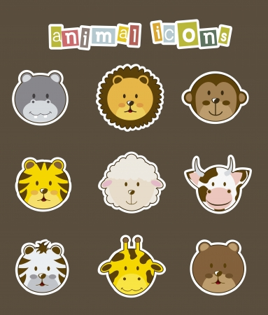 lion and lamb: animal icons over brown background. vector illustration
