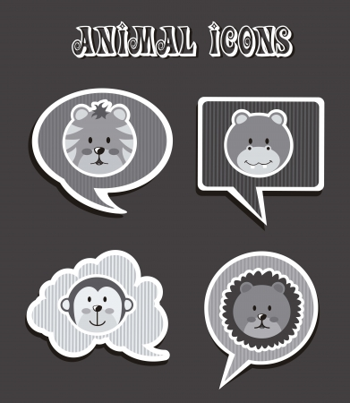 animal icons over gray background. vector illustration Vector