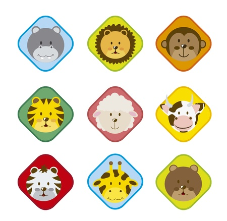 lion and lamb: animal icons over white background. vector illustration