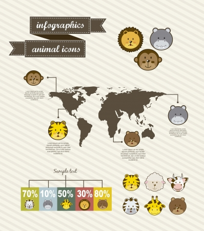 animal icons over vintage background. vector illustration Vector