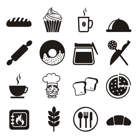 kneading: Icone da forno su sfondo bianco. illustrazione vettoriale