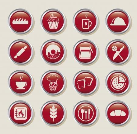 rolling bag: bakery icons over beige background. vector illustration Illustration