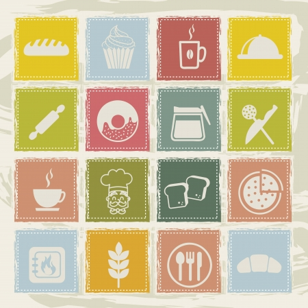 bakery icons over grunge background. vector illustration Vector
