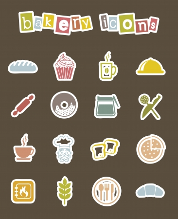rolling bag: bakery icons over brown background. vector illustration