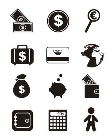 economies: ic�nes d'argent sur fond blanc. illustration vectorielle