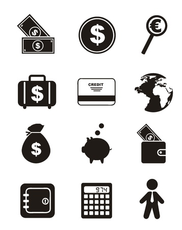 white paper bag: money icons over white background. vector illustration