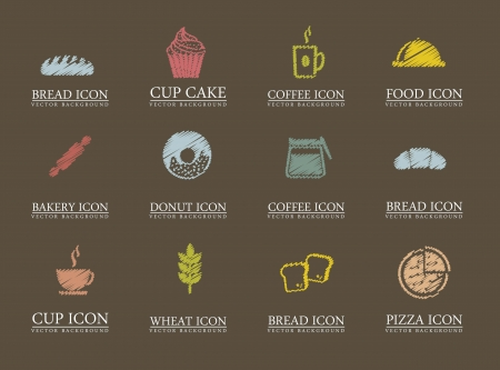 bakery oven: bakery icons over brown background. vector illustration
