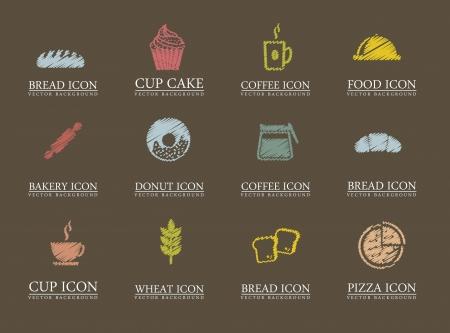 kneading: Icone da forno su sfondo marrone. illustrazione vettoriale Vettoriali