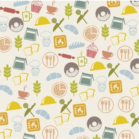 kneading: bakery icons over beige background. vector illustration Illustration