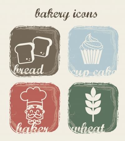 kneading: Icone da forno su sfondo beige. illustrazione vettoriale Vettoriali