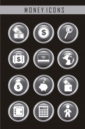 money icons over black background. vector illustration Stock Vector - 16287794