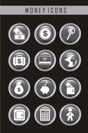 burning money: money icons over black background. vector illustration