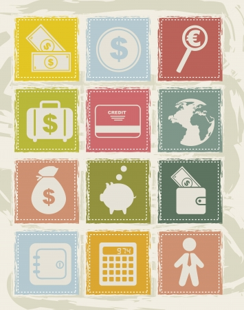 money icons over grunge background. vector illustration Vector