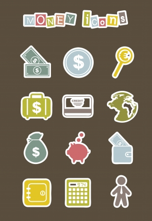 burning money: money icons over brown background. vector illustration