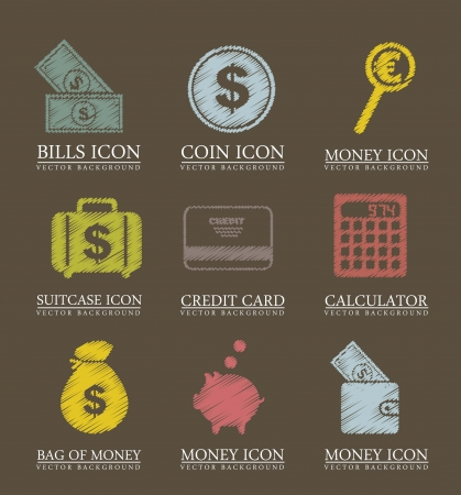 money icons over brown background. vector illustration Vector
