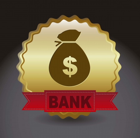 gold bank icon over ribbon over black background. vector Stock Vector - 16287916