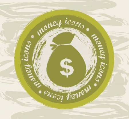 money icon seal over grunge background. vector illustration Stock Vector - 16290317