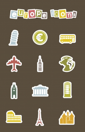 europe icons over brown background. vector illustration Stock Vector - 16290290