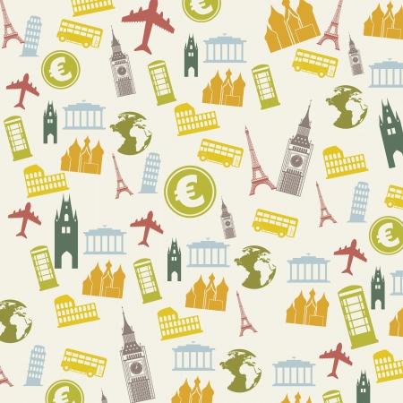 pisa: europa pictogrammen op beige achtergrond. vector illustratie