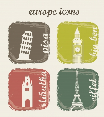 europe icons over beige background. vector illustration Vector