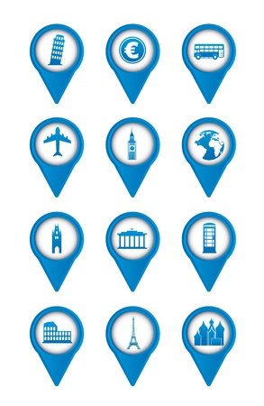 blue europe icons over white background. vector illustration Stock Vector - 16287891
