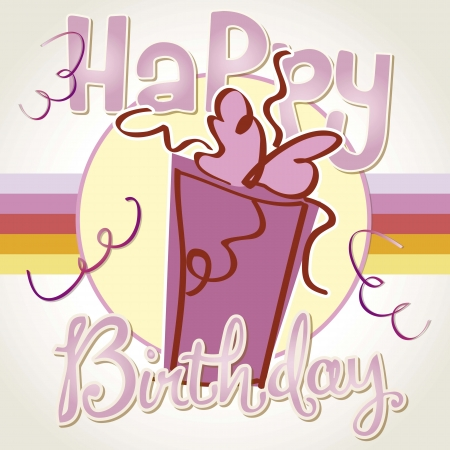 catchy: birthday card, pink gift