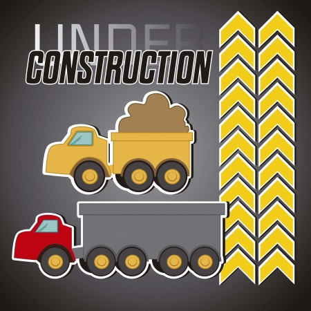 constrution: under constrution, red truck and yellow truck