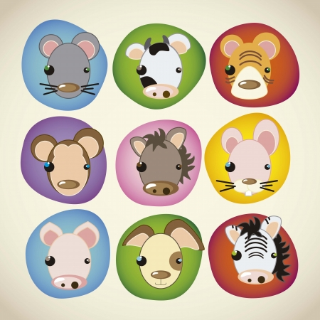 animal icons colorful faces Vector