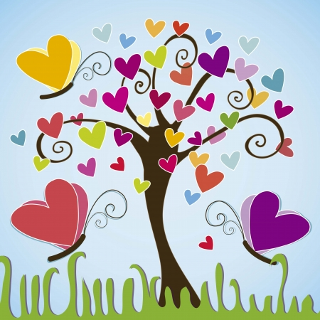 butterflies in the tree with spirals Vector