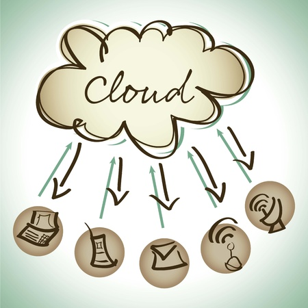 Cloud Computing, vintage icons Stock Vector - 16290275
