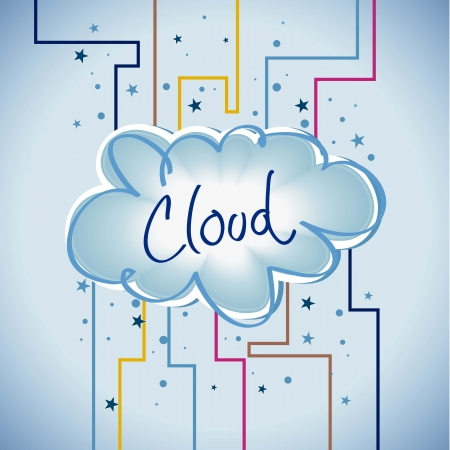 Cloud computing. Abstract lines with colors Stock Vector - 16288699