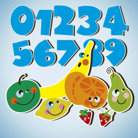 kids fruits with numbers Vector
