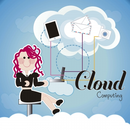 woman with communication icons over cloud background Stock Vector - 16287815