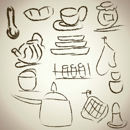 kitchen icons, vintage background Vector