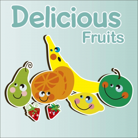 Kids Delicious Fruits Vector