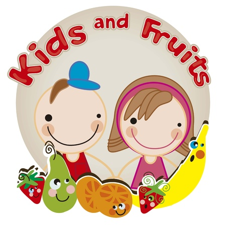 kids eating: Kids and Fruits, we are friends Illustration