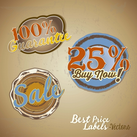 Sale labels with vintage background Vector