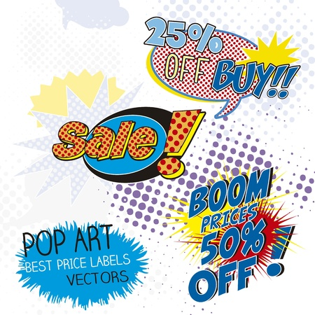 bomb price: Sale Labels pop art, comic onomatopoeia Illustration