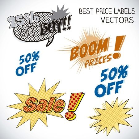 Sale Labels pop art, and comics Stock Vector - 16288881