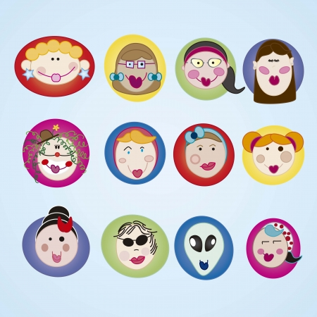 userpic: Girls Icons colorful faces set