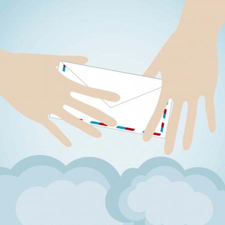 Cloud computing hands sending a message Vector
