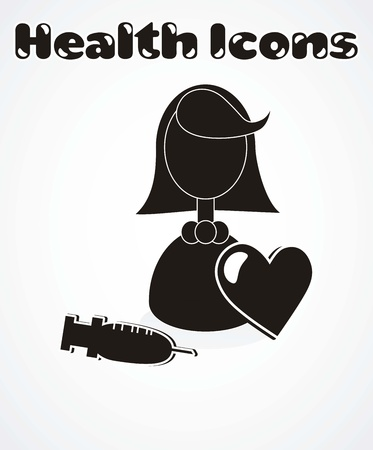 inject: health icon, silhouette Illustration