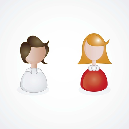 Girls Icons  in colors Vector