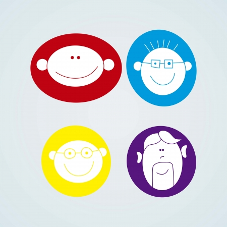 People Icons four faces set Vector