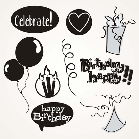 Birthday icons in black and white Stock Vector - 16287793